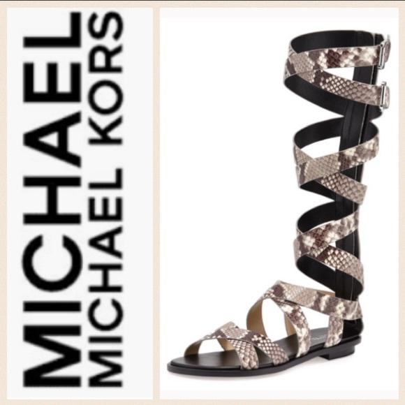 a5e156906f0 MICHAEL MK Black Darby Snakeskin Gladiator Sandals